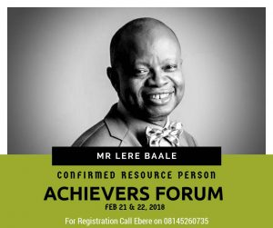 BE INSPIRED! MEET OUR RESOURCE PERSON(MR. LERE BAALE)